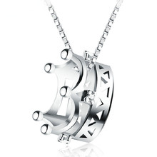 Wholesale 925 sterling silver fashion crown ladies`pendant necklace jewelry women short box chain drop shipping все цены
