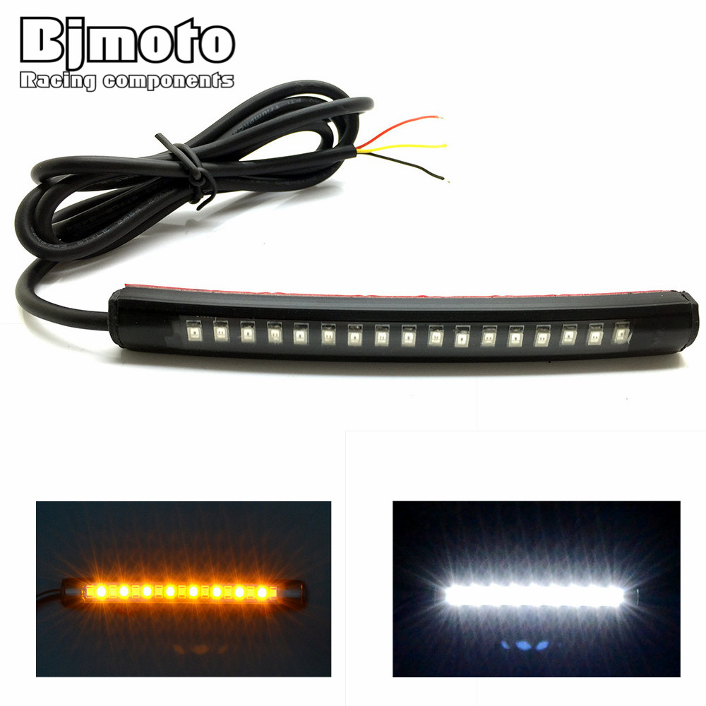 Universal Flexible LED Motorcycle Brake Lights Turn Signal Light Strip 17 Leds License Plate Light Flashing Tail Stop Lights reflection