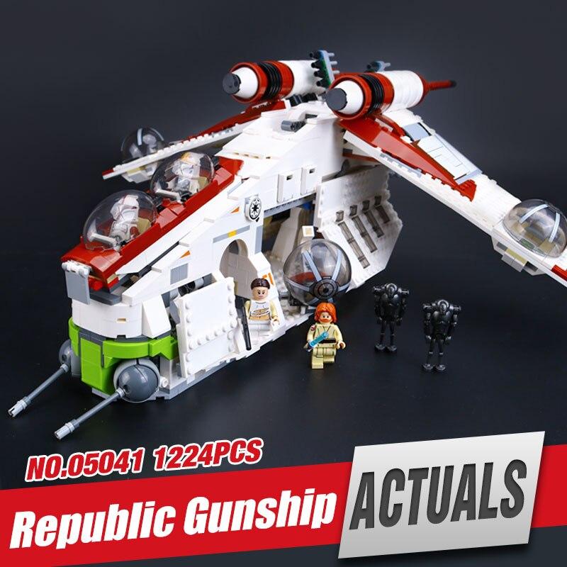 Galleria fotografica LEPIN 05041 Stelle Repubblica set Gunship wars Kit Modello di Edificio scolastico Blocks Mattoni Compatibile Giocattolo <font><b>legoing</b></font> 75021 come regalo