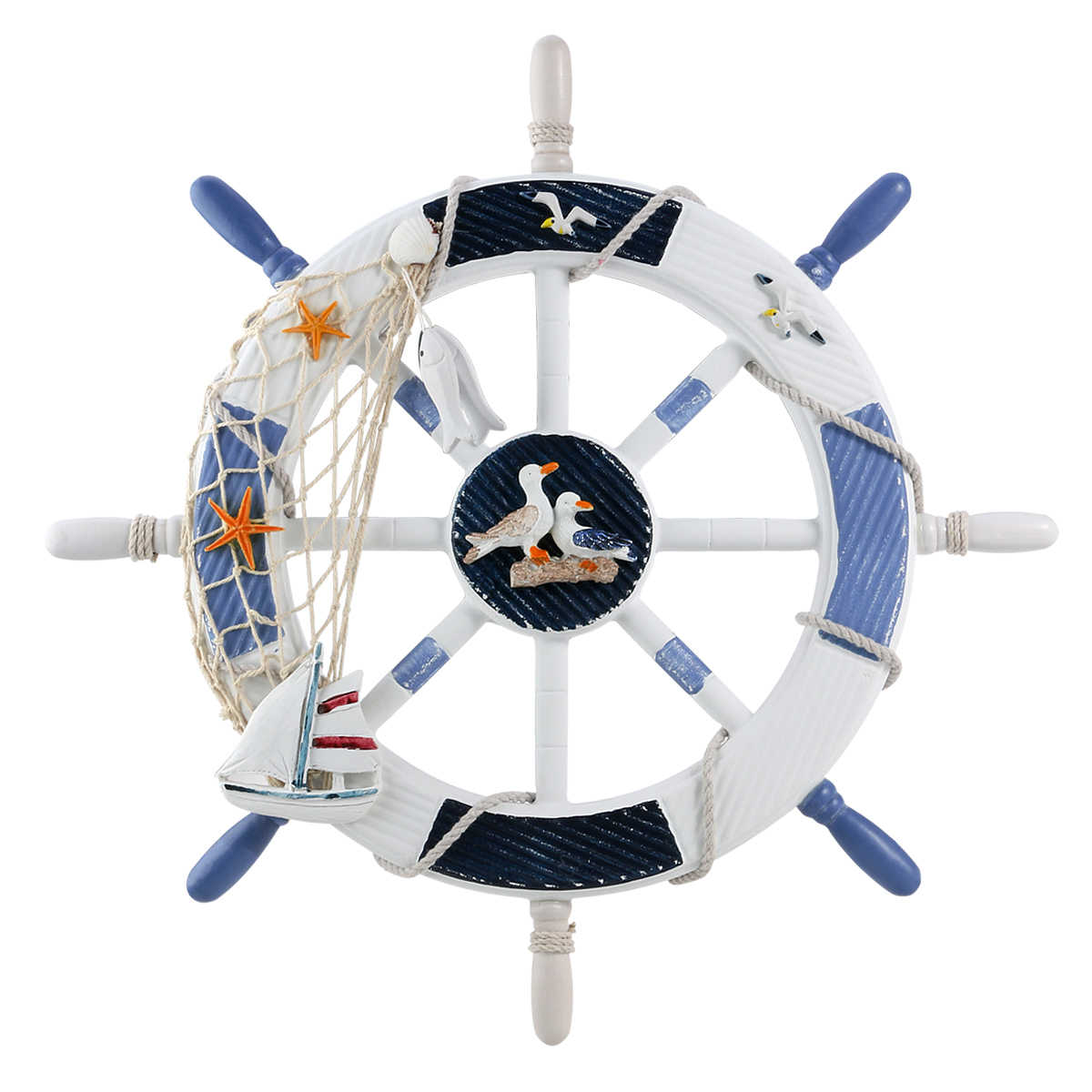 BESTOYARD Wheel Wall Decor Nautical Decor Nautical Boat Steering Wheel with Alete Nails