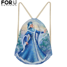 Blue Drawstring Bag for Teenagers Woman Girl Russia Snow Maiden Drawstring Backpack Package Travel Storage Package 2019