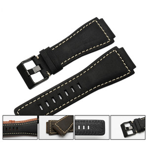 Image 2 - 33*24mm Convex End Italian Calfskin Leather Watch Band For Bell Series BR01 BR03 Strap Watchband Bracelet Belt Ross Rubber Man