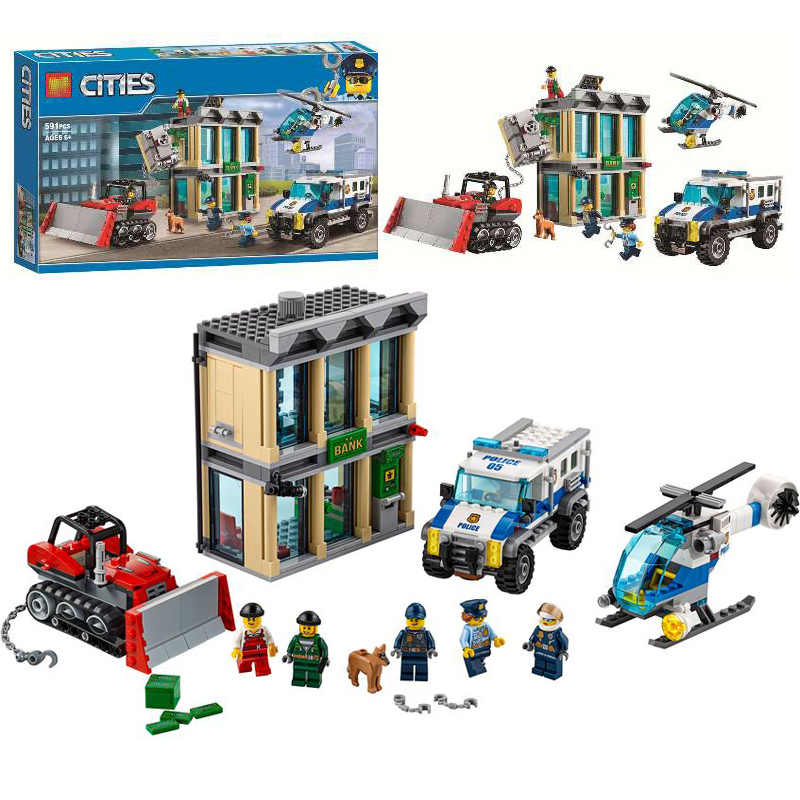 591pcs 10659 City Police Bulldozer Break-in Bank Building Blocks Set Bricks Toys Compatible City 60140 For Children