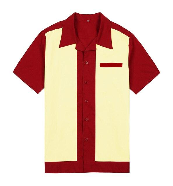 Camisas tejidas con botones para hombre cuello Retro