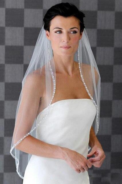 2016 White Bridal Veil One Layer Bead Edge Wedding Accessory Wedding Veils High Quality