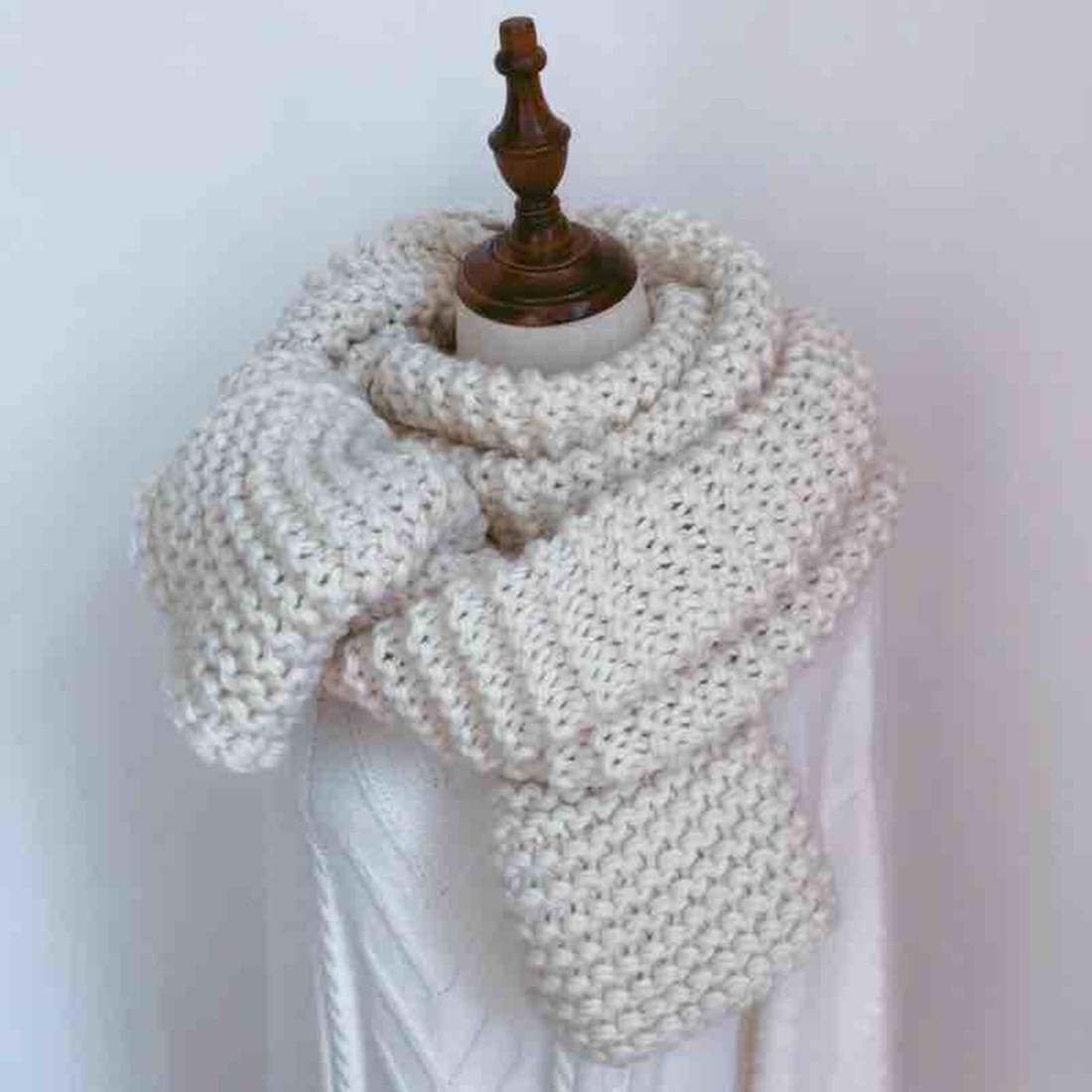 Mujeres encantadoras invierno bufanda de lana de punto dulces ...
