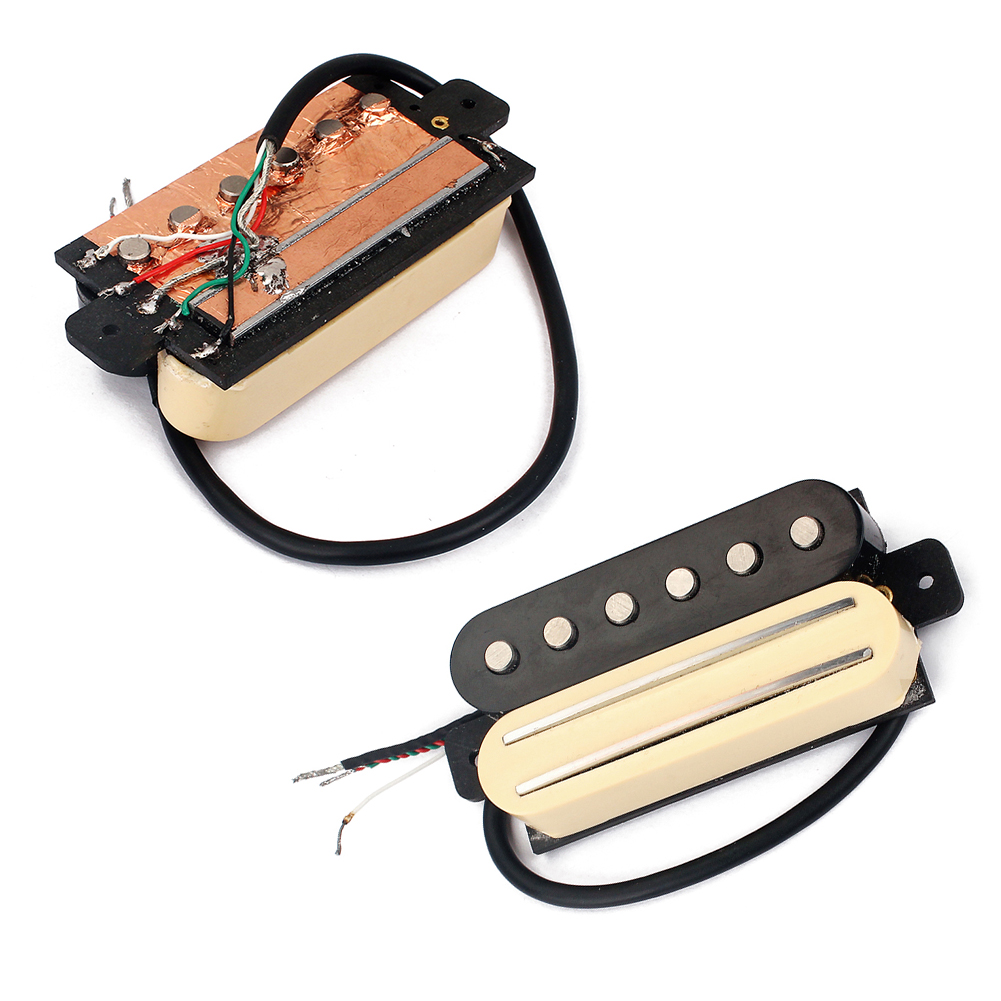 Electric Guitar Pickup Dual Rail Bridge Humbucker Single Coil Pickup kmise single coil pickup for electric guitar parts accessories bridge neck set black with chrome gold frame