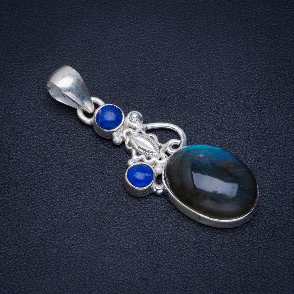 """Labradorite de feu bleu naturel et Lapis Lazuli 925 pendentif en argent Sterling 1.75 """"AU0096"""
