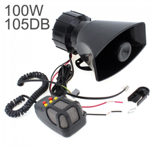 цена на 12V 7 Sound Tones Loud Car Warning Alarm Police Fire Siren Horn 100W Auto Speaker with Black Wireless Remote Controller dfdf