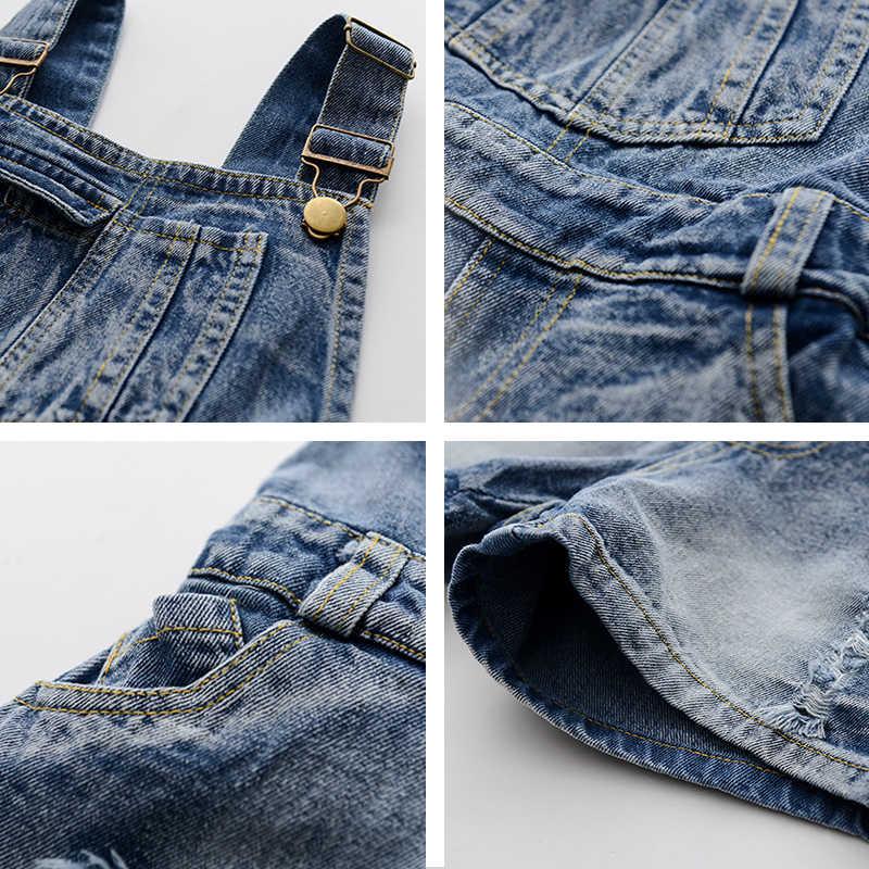 c861eeb71 ... Chica adolescente de padre-hijo vaquero pantalones cortos niños  coreanos pantalones de mezclilla overoles ropa ...