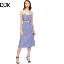 DIDK Summer Dress 2017 Sexy A-Line Dresses Spaghetti Strap Blue Checkered Knot Detail Midriff Cut Out Cami Dress