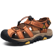Новые летние мужские сандалии больших размеров качественные кожаные мужские модные сандалии Классические удобные дышащие пляжные сандалии 38-46