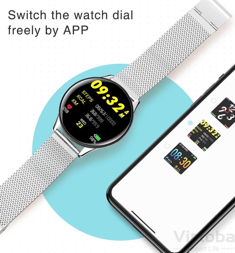 Virtoba CN58 Smart Watch 1.3'' Toughened Glass Touch Screen Smartwatch Man Women Blood Pressure IP68 Waterproof Fitness Tracker PK Q8 Q9 12