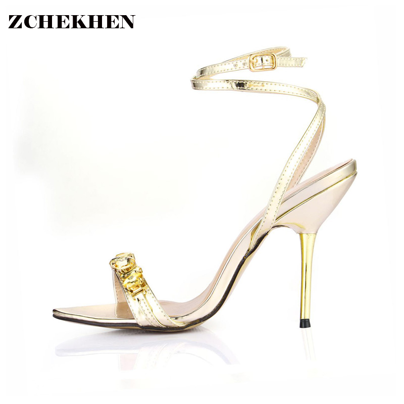 Designer Shoes Women Luxury Gemstone Jeweled Gladiator Sandals gold High Heels Woman Ankle Strap Rhinestone Sandals 3845C-i14 phyanic 2017 gladiator sandals gold silver shoes woman summer platform wedges glitters creepers casual women shoes phy3323