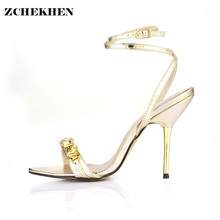 Designer Shoes Women Luxury Gemstone Jeweled Gladiator Sandals gold High Heels Woman Ankle Strap Rhinestone Sandals 3845C-i14 цена 2017