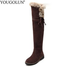 Thigh High Snow Boots Women Winter Low Heels Boot Fur Decoration Warm Shoes Woman Black Brown Yellow Cross Strap Over Knee Boots цена