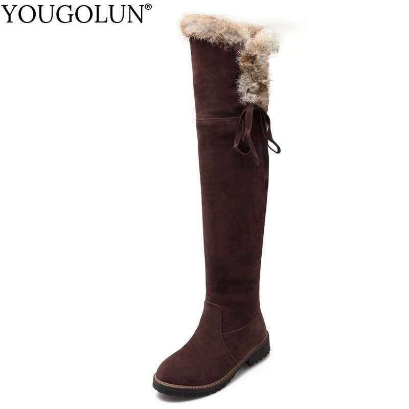 Uyluk Yüksek Kar Botları Bayan Kış Düşük Topuklu Çizme Kürk Dekorasyon sıcak ayakkabı Kadın Siyah Kahverengi Sarı Çapraz Kayış Diz çizmeler