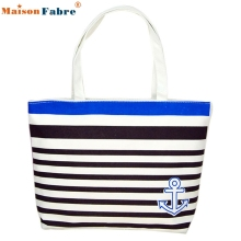 High quality Canvas Blue Anchor Pattern Shopping Shoulder Bags Women Handbag Beach