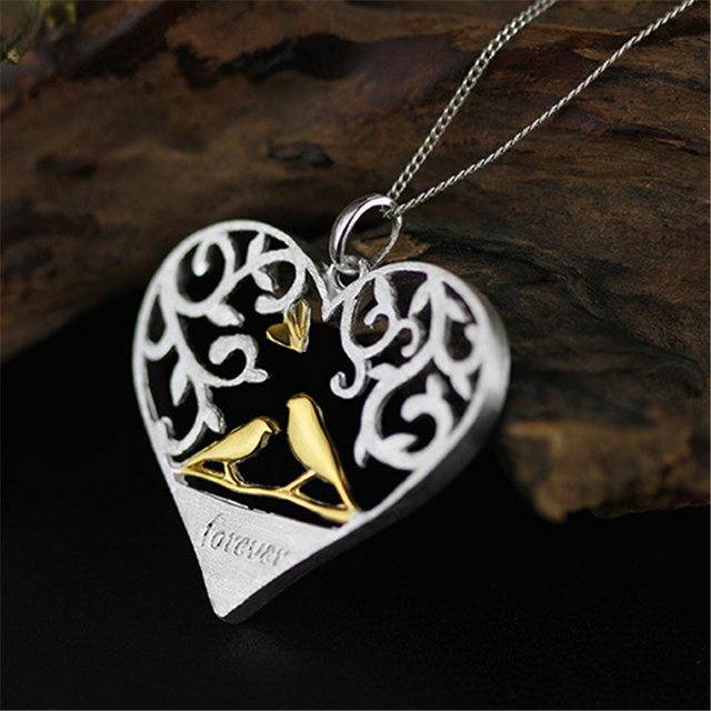 Love Forever Handmade Hollow Out Love Heart Design Pendant For Necklace Exclusive Valentine's Day Genuine 925 Sterling Silver