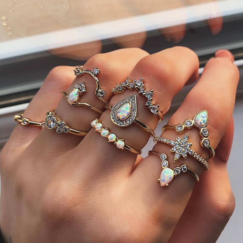 pack of 10 combination geometric knuckle rings for women with crown /stars/water drop and inlaid opal design female ortak halka image