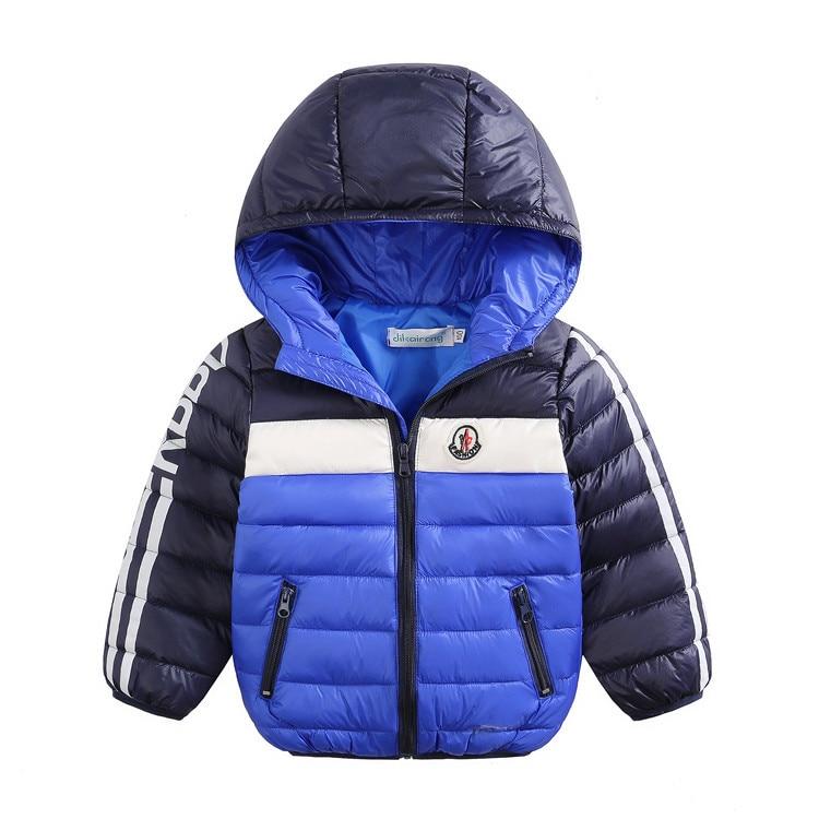 Kış Çocuk Giyim Düz Renk Kız Erkek Giysileri Çocuk giyim Aşağı Ceket Ceket Şapka Ile Çocuk Mont Pamuk-yastıklı