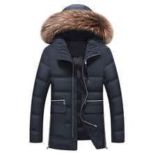 2019 New Winter Jacket Men Big Real Fur Collar Hooded Duck Down Jacket Thick