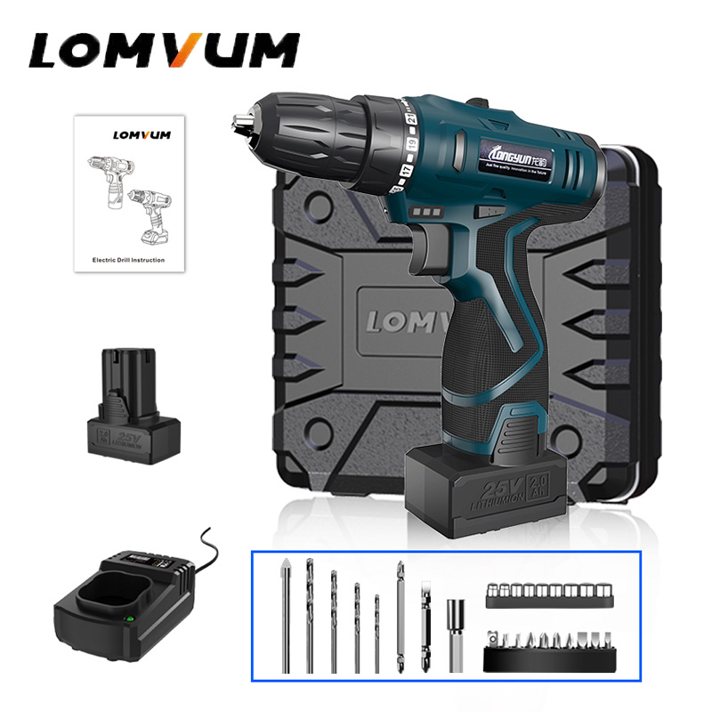 LOMVUM 25V Double Speed Cordless Screwdriver 2 Battery Electric Mini Drill LED Light Power indicator Non