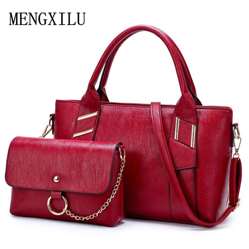 2 PCS/Set Women Handbag PU Leather Versatile Shoulder Messenger Bag High Quality Ladies Composite Bag For Female Brand Designer цена 2017