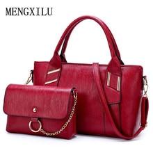 цены 2 PCS/Set Women Handbag PU Leather Versatile Shoulder Messenger Bag High Quality Ladies Composite Bag For Female Brand Designer