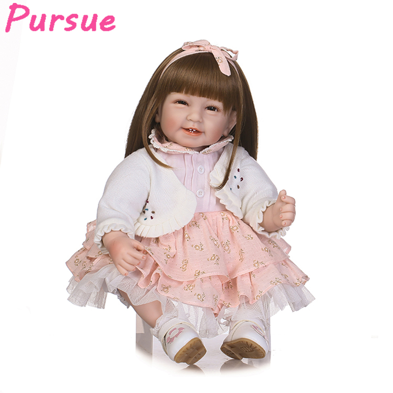 Pursue 22/55 cm Happy Smile Silicone Reborn Baby Toddler Doll for Girls House Play Lifelike Princess Girl Baby Doll Playmate pursue 22 56 cm big smile face reborn boy toddler baby doll cotton body vinyl silicone baby boy doll for children birthday gift