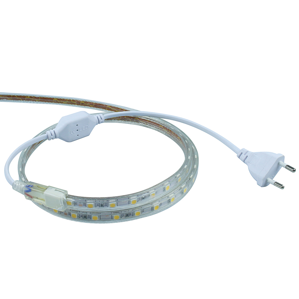 ECLH AC 220V 1M 60LED IP65 Waterproof 5050 SMD Flexible LED Strip light white / warm white / blue / green / red / led lamp Tape usb powered 18 led white light flexible desktop lamp w adapter white silver