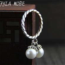 Fyla Mode Elegant Double Shell Pearls Charms Solid 925 Sterling Silver Female Rings Fine Jewelry For Girls 2mm 3.40G TYC043