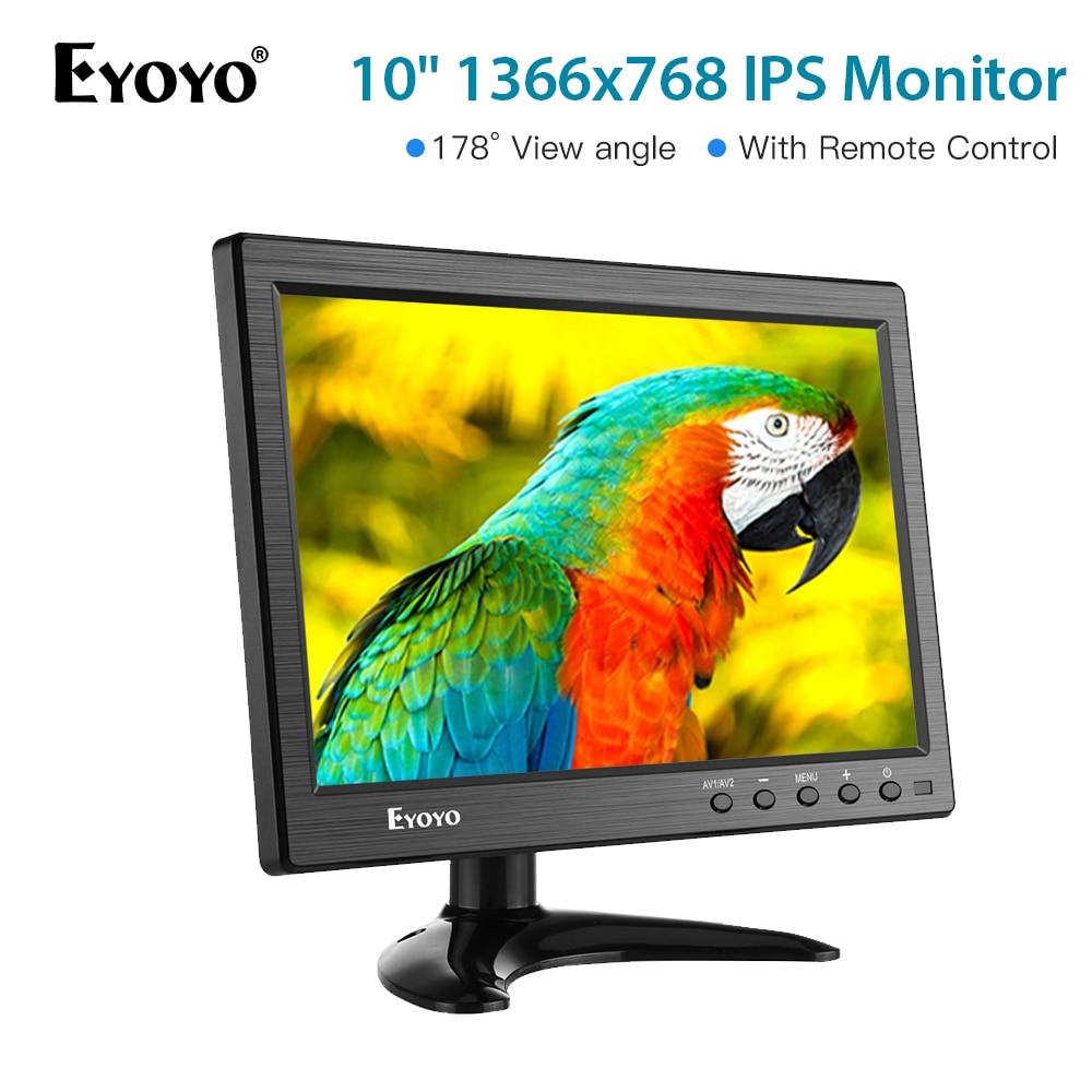 Eyoyo 10 polegada IPS Monitor de Segurança CCTV Portátil Pequeno Computador Portátil Monitor de Tela do Monitor LCD HDMI 1366x768 HDMI VGA