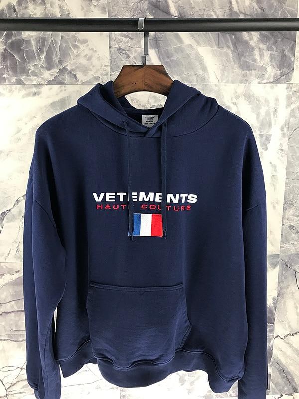 Meilleure qualité 1:1 VETEMENTS femmes hommes France drapeau broderie sweats à capuche Hiphop marque vêtements hommes femmes sweat à capuche en coton pull