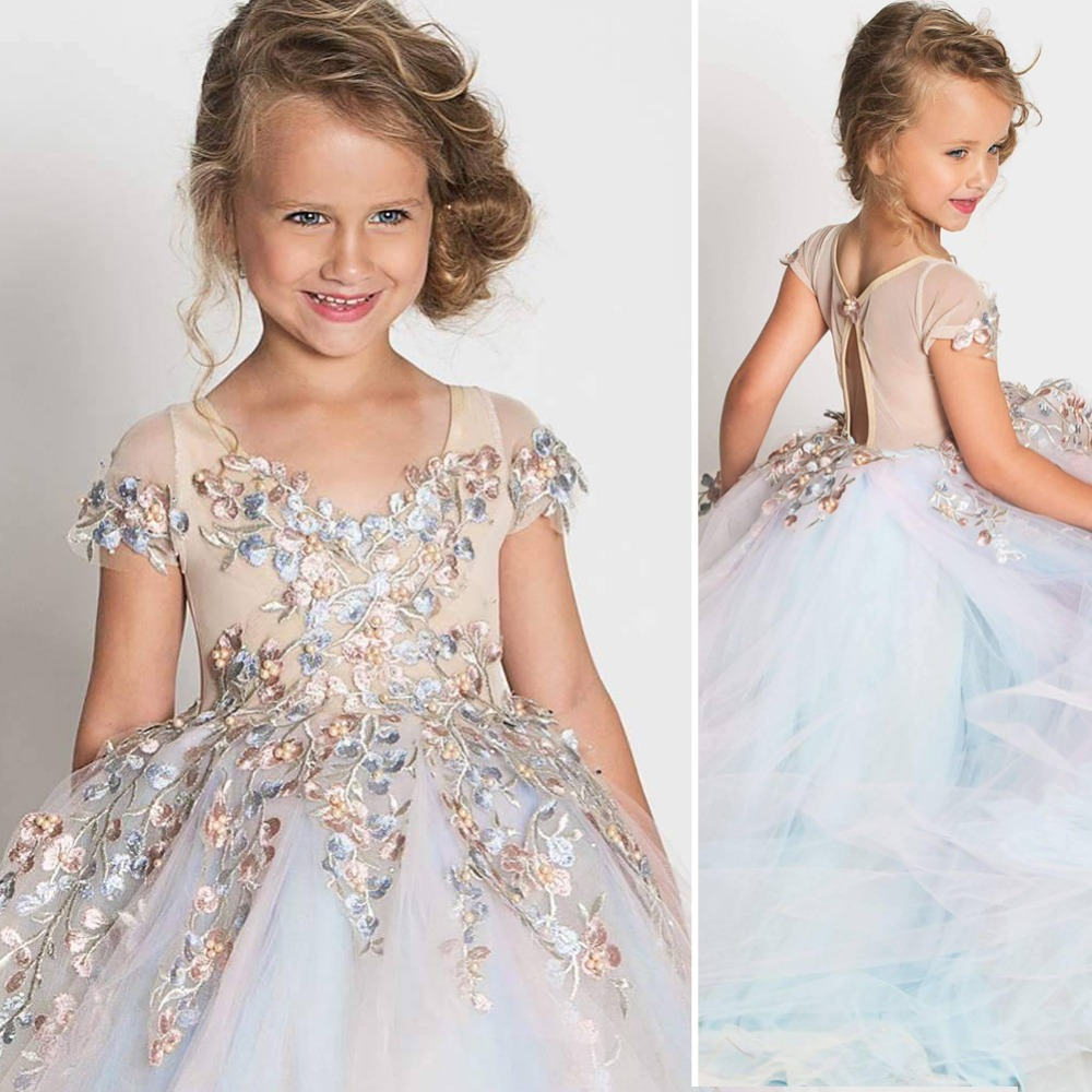 ccbf109626b Sweet Flower Girl Dresses for Wedding Ankle Length Satin with Tulle Lace Appliques  Straps Party Ball Gown Pageant