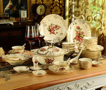 European ceramic tableware bowl suit China Phnom Penh dishes combined creative wedding gifts