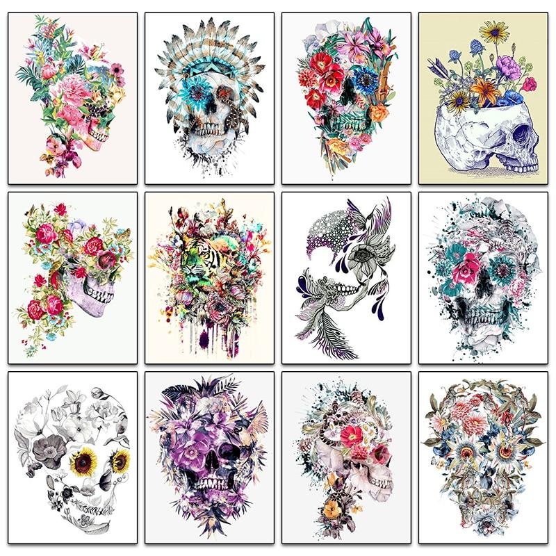 Full 5D Diy Diamond Painting Skull And Flower Helloween Diamond Embroidery Cross Stitch Rhinestone Diamond Mosaic Home Decor gx