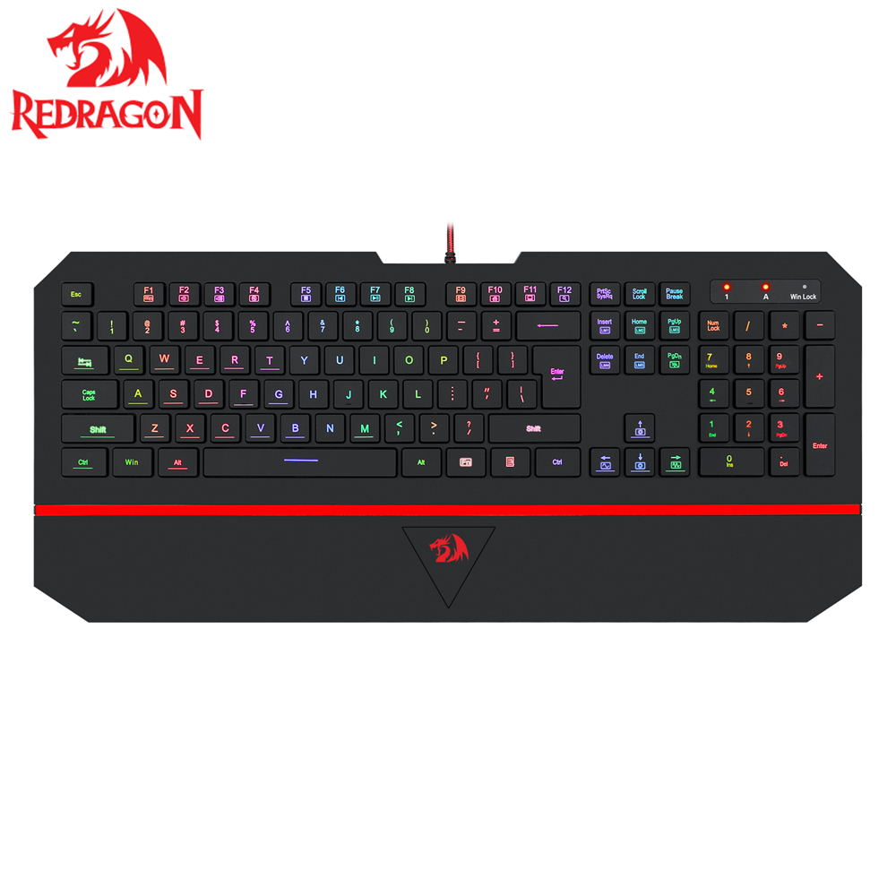 Gaming Keyboard K502 Redragon Kaeyboard RGB LED Backlit Illuminated Keyboard 104 Key Computer Gaming Keyboard SilentWrist Rest