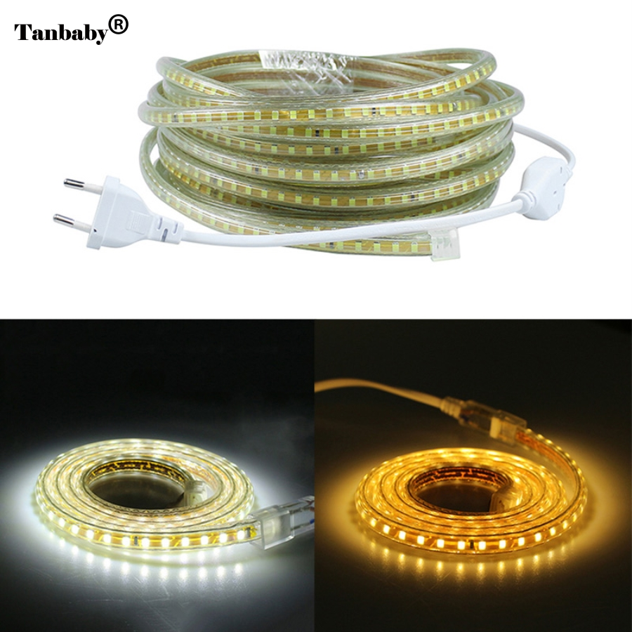 220V SMD 2835 Fleksibel Led Strip Light 1M / 2M / 3M / 4M / 5M / 6M / 7M / 8M / 9M / 10M / 15M / 20M + Strømkontakt, 120leds / m IP65 Vanntett Led Ribbon
