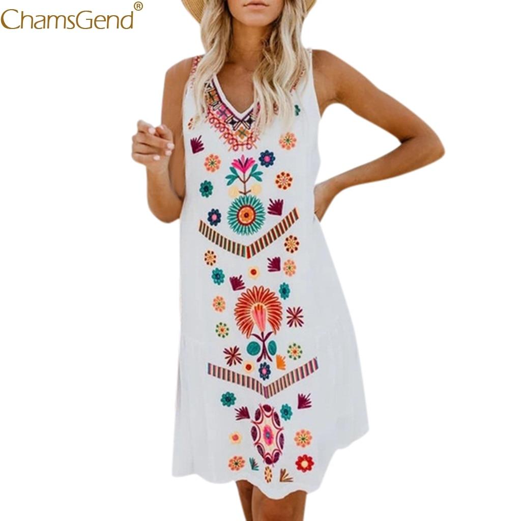 Holiday Boho dress women summer print short sleeve v-neck dress women summer floral print Summer Pomisi Loose Beach Mar