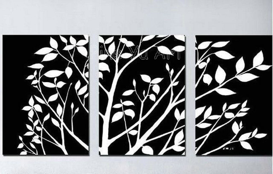 3 Piece Abstract Modern Canvas Wall Art Decorative Black