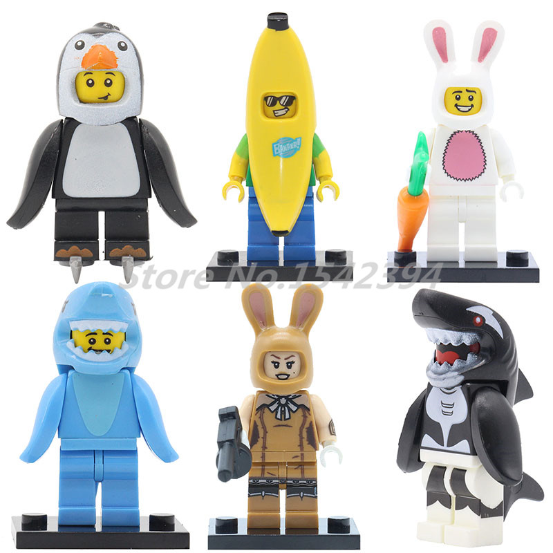 Single Sale Orca Shark Batman Movie Building Blcoks March Harriet Penguin Boy Banana Guy Rabbit Toys For Children Model Gifts single boy