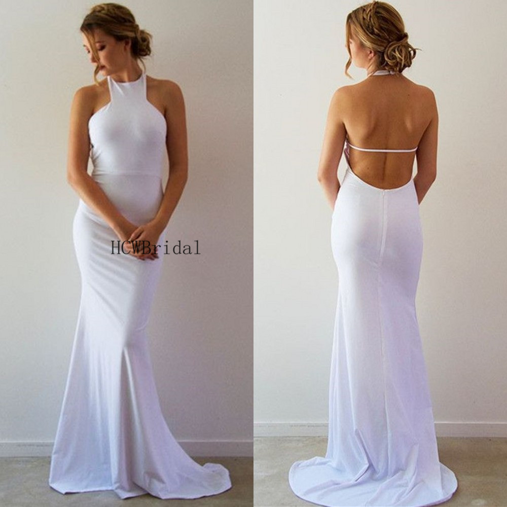 Backless White Mermaid   Prom     Dresses   2019 Sexy Halter Sweep Train Floor Length Long Evening Gown Cheap Women Occasion   Dress