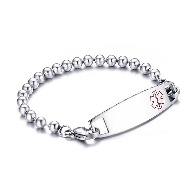 Stainless Steel Medical Alert Id Bracelet With Beads Chain Tag Free Engraving