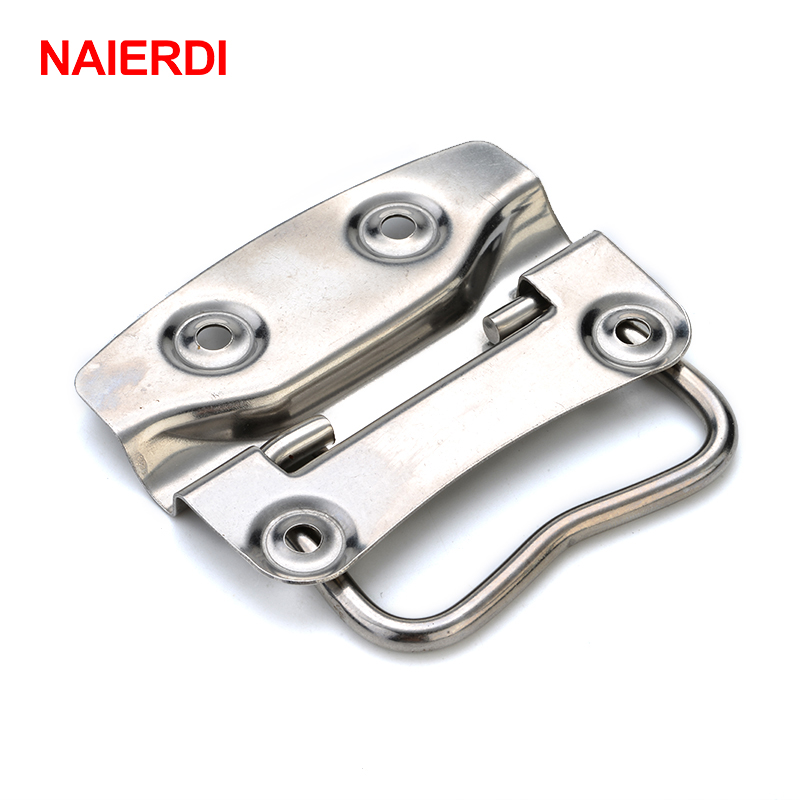 4PCS NAIERDI-J203 Cabinet Handle Wooden Case Knobs Tool Boxes Stainless Steel Handles Kitchen Drawer Pull For Furniture Hardware 4pcs naierdi c serie hinge stainless steel door hydraulic hinges damper buffer soft close for cabinet kitchen furniture hardware