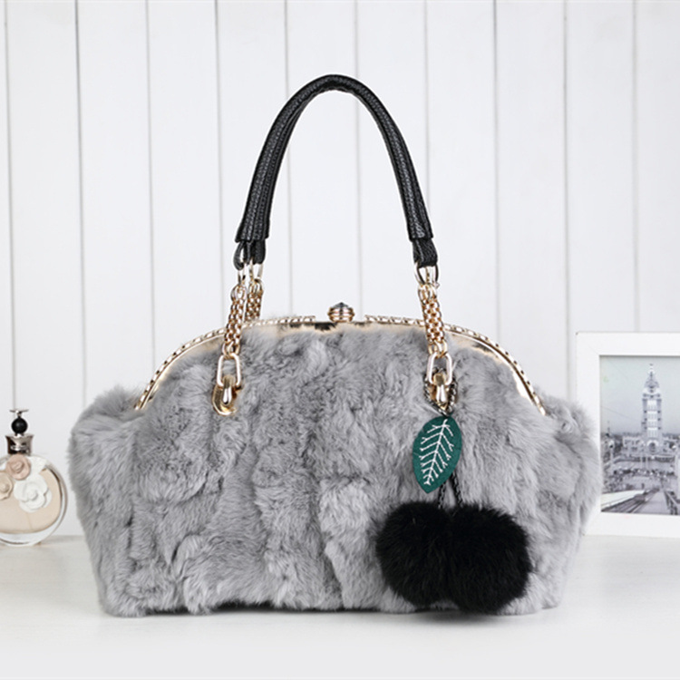 Design Woman Genuine Leather Handbags Fashion Real Fur Bags For Ladies Flap Women Chains Tote Bag Winter Luxury Messenger Bag stylish chains and rivets design women s tote bag