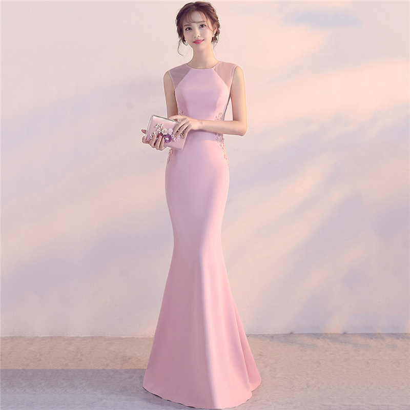 Pink Cotton & Mesh Beaded Floral Appliques Mermaid Sexy Club Dresses 2018 New Arrival Party Dress Women Vestido De Festa Longo
