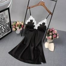 Ladies Sexy Nightdress Silk V-neck Floral Sleepwear Lingerie Babydoll Nightgown Mini Sleeveless Women Sleepshirt With Padded Bra