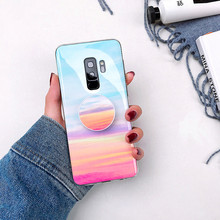 Fashion Grip Stand Holder Marble Phone Case for Samsung S8 Plus S9 Plus Etui Glossy Silicon Back Cover for Samsung Note 8 Note 9