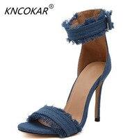 KNCOKAR 2018 Ultra High And Dark Blue Fashion Denim Sandals Black Sexy One Word For Women